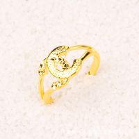 24K镀金首饰 欧币戒指 持久不褪色 小香戒指新款 微商货源批发