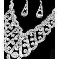 M011速卖通 满钻水晶饰品美丽闪耀的明星婚礼新娘首饰项链耳环女