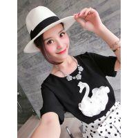 小银子2015夏装新款立体萌趣天鹅图案清凉百搭雪纺短袖T恤T5314