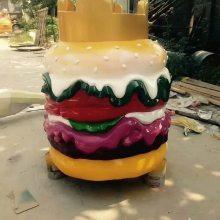 岳阳厂家定做玻璃钢皇冠造型蛋糕面包雕塑彩绘树脂仿真汉堡三明治模型