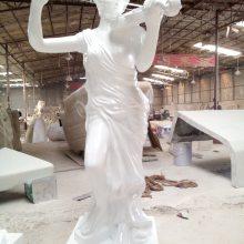 宁波玻璃钢仿古铜西方有翅膀战神定做树脂欧式勇士鸟人广场雕塑