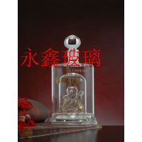 批发永鑫玻璃酒瓶,内置熊猫水晶玻璃酒瓶