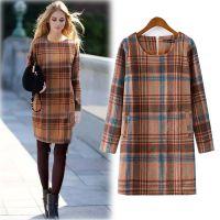 外贸原单 2014欧美女装冬季新款修身圆领长袖格纹包臀毛呢连衣裙