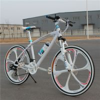 26寸弯梁铝合金一体轮24速山地车/双减震碟刹天津山地自行车批发