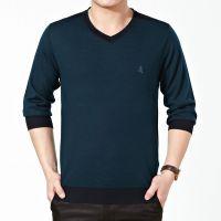 批发2015秋装正品梦特娇男士长袖T恤丝光羊毛领T恤中年款打底衫