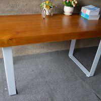 新品推荐 美式田园风餐桌 海德利个性铁艺桌角长方形餐桌定制