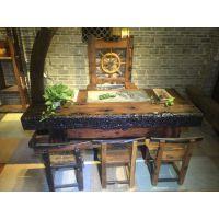 老船木实木茶桌椅船木实木功夫茶台茶桌茶几小型中型大型户外阳台茶桌椅组合