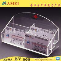 多功能有机玻璃名片座 透明名片座 办公收纳名片盒 压克力名片座