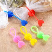 心形硅胶扎带 食品袋束口捆绑扎带 零食小吃封口带