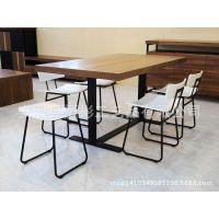 欧式简约时尚铁艺实木桌椅组合套件吃饭桌子餐饮餐厅凳子餐椅靠背