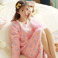 厂家直销 冬季新款桃心长袖花边公主舒适美丽绒均码睡衣睡裙8901