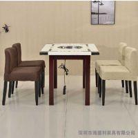 大理石火锅桌椅厂家定做 火锅烧烤一体桌海德利厂家批发 4人位火锅店专用桌椅