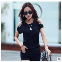 韩国官网同款2015夏装新款日韩女装打底修身显瘦露肩短袖t恤女