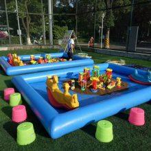 郑州心悦小孩玩沙充气气垫套装 9平方儿童冲气沙滩池决明子全套价格
