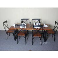 美式乡村铁艺餐桌复古高档长方形全实木餐桌椅组合休闲餐厅咖啡厅