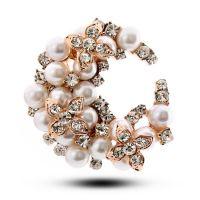 韩国进口 精美 珍珠闪钻 华丽圆形胸针 头饰品 OL气质4980