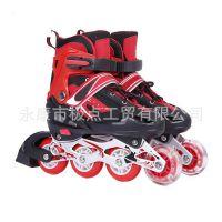 儿童轮滑鞋溜冰鞋 单闪 套装 可调节 直排轮 旱冰鞋 厂家批发代发