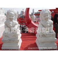 曲阳石雕狮子报价 河北生产厂家定做蹲狮 汉白玉天安门狮子