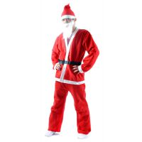 圣诞无纺布老人服装 圣诞成人男女装 圣诞帽子五件套 表演服饰