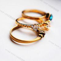 R073 韩国进口复古金色彩钻钻石水晶关节戒指尾戒 来自星星的你