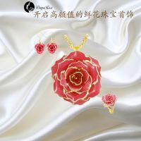 黛雅唯美 镀金玫瑰花首饰套装天然玫瑰花材质手工制作厂家定制批发