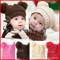 帽子批发 韩版双球儿童针织帽子 编织保暖毛线帽 米奇造型牛角帽