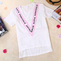 2015夏季新款 韩版显瘦V形字母女士T恤 时尚大方短袖打底衫 批发