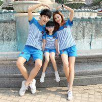 2015新品夏季亲子套装 韩版热卖亲子装短袖 条纹徽章亲子家庭装夏