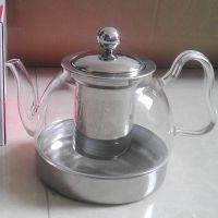 厂家直销 800ML玻璃茶具 带不锈钢内胆茶滤 电磁炉专用泡茶壶