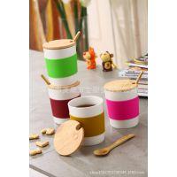 深圳美康 个性定制陶瓷杯 卡通情侣水杯 竹盖环保水杯 陶瓷咖啡杯