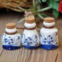 新款 景德镇挂件批发 陶瓷民族风挂件  漂流瓶手绘荷花包包摆件.