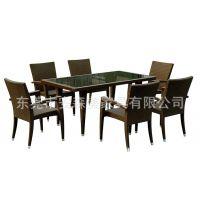 长方形餐厅桌椅 户外餐桌 休闲家具 藤餐椅 西餐厅家具(A3027#)