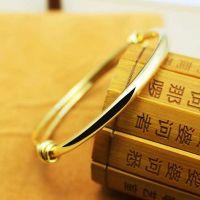 微信爆款简约24K黄金首饰欧币手镯手链可调节花纹金色光板手镯子
