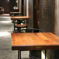 实木餐桌椅咖啡厅奶茶店快餐店餐桌椅组合美式乡村成套餐桌椅
