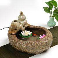 陶瓷喷泉流水鱼缸加湿器家居装饰摆设工艺品风水球水景招财摆件