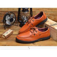 新款男鞋韩版时尚休闲单鞋系带圆头男皮鞋 一件代发