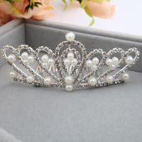韩国精致新娘头饰 可爱儿童皇冠发梳 闪亮珍珠皇冠大号