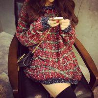 新品打底衫针织衫秋冬新款 温暖甜美彩线大格子中长款套头毛衣 女