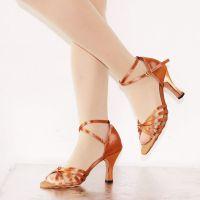 丹诗菲妮DFL-014中跟6.5cm软底女式成人豹纹拉丁舞蹈鞋