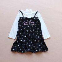 外贸日单原单CRTCUTIE 春秋款女童纯棉卡通假两件长袖连衣裙