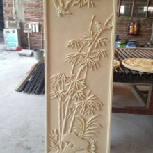 菊花浮雕酒店装饰墙沙岩壁画人造石植物梅花菊图案雕刻板砖背景墙