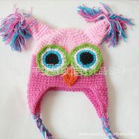 供应儿童猫头鹰造型帽子 宝宝卡通帽子 婴儿手钩毛线帽子