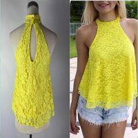 2015欧美ebay速卖通爆款黄色蕾丝背心女上衣外贸原单女装批发