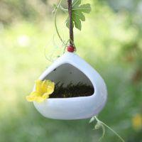 飘窗迷你型挂饰 小花器青釉陶瓷 挂式水培花器 家居挂饰花瓶