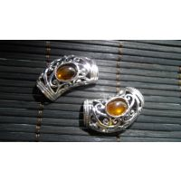 【昌威】复古925银镶琥珀吊坠配件平安锁