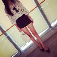 【MISS阮阮】自制韩版女装大牌印花七分袖条纹宽松雪纺衬衫女
