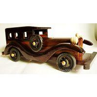 供应玩具,彩绘木制老爷车,益智仿古纯手工小木车 10寸 混发
