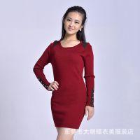 女式针织衫爆款新款打底衫连体裙 加厚保暖打底女毛衣厂家批发