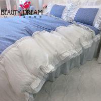 BeautyDream 春夏新款经典蓝纯棉碎花床品四件套 公主套件床裙式