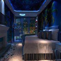 主题酒店床头背景壁画 大型3D立体海底世界壁画 个性墙纸定制